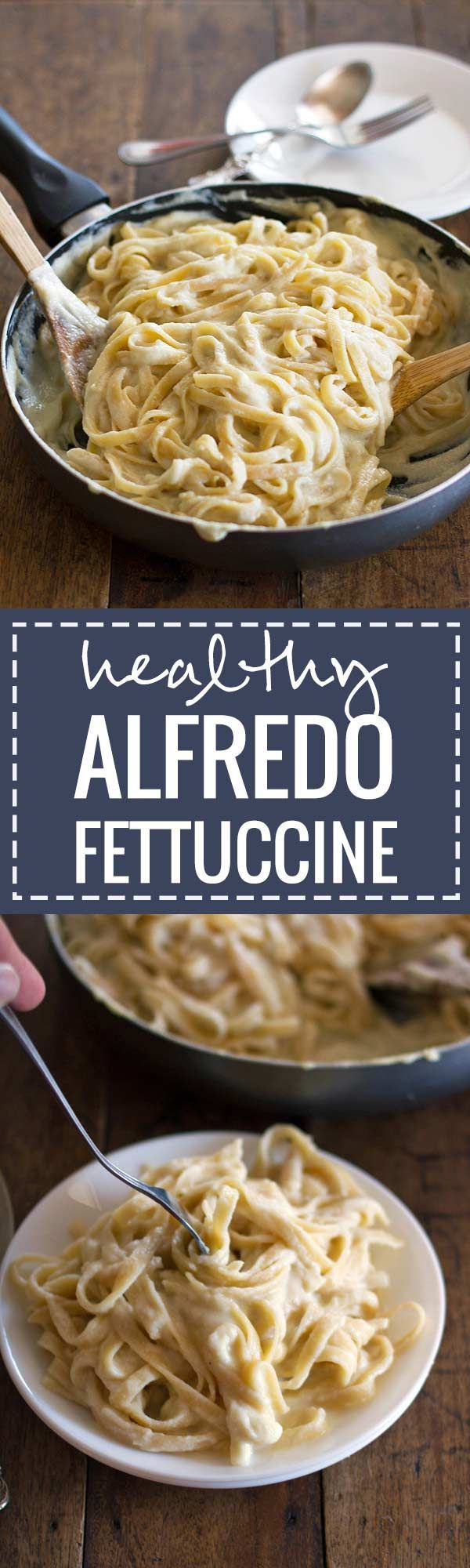 This healthy fettuccine alfredo is made with a creamy cauliflower sauce that tastes just like the real thing. Only 280 calories per serving!
