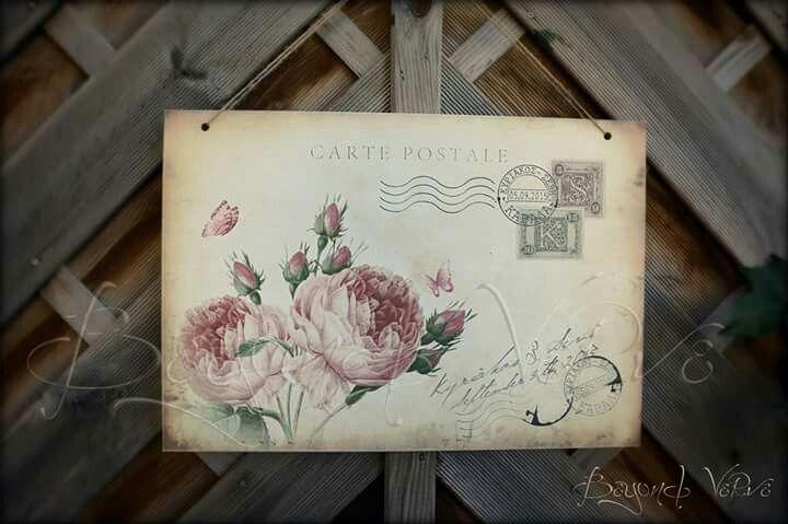 Rose carte postale postcard Vintage wedding sign - Wedding stationery