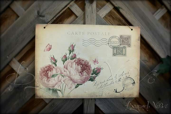 Rose carte postale postcard Vintage wedding sign - Wedding stationery
