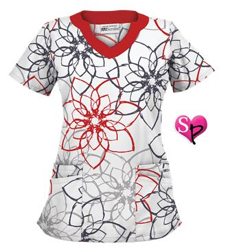 UA Floral Ink White Scrub Top Style # UA194FRI  #uniformadvantage #uascrubs #sophiespicks #scrubs #scrubtop