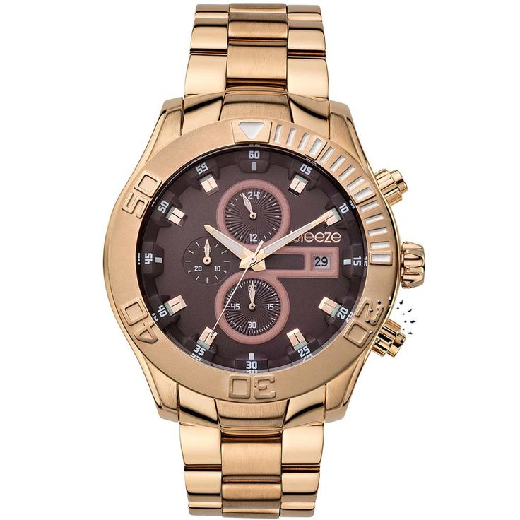 BREEZE Iconic Chrono Rose Gold Stainless Steel Bracelet Τιμή: 225€ http://www.oroloi.gr/product_info.php?products_id=30552
