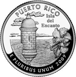 Commonwealth of Puerto Rico  The second quarter depicts a sentry box in Old San Juan overlooking the sea with a hibiscus, Puerto Rico's official flower.
