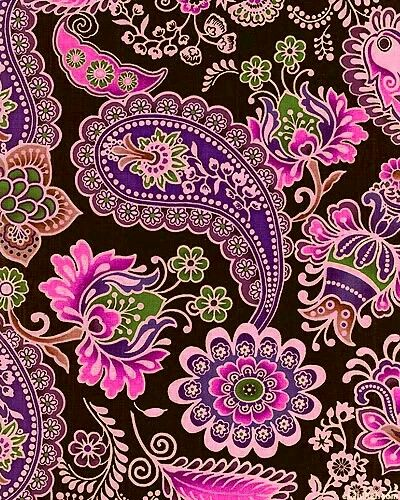 491 - Vibrant plum, pinks and green paisleys on black background. Gorgeous! ❤️