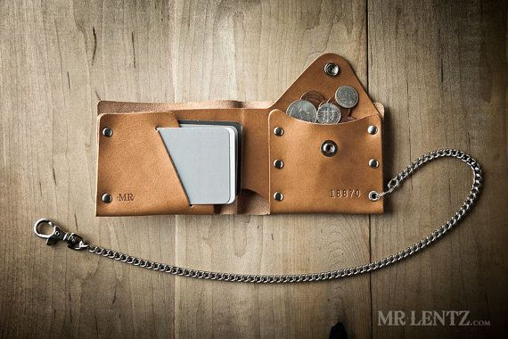 When pocket change has you all riled up, you're going to love this new leather coin wallet with chain. I decided to solve the clinking pocket change problem once and for all so you can wander those dusty hills and enjoy the sounds of nature. It keeps thin too, so even with a bunch of coins you'll stay comfortable. With Full-Grain Vegetable Tanned leather and solid brass hardware – this coin wallet will put up with a lifetime of heavy use and stay strong till the end. I cut, brand, stamp…