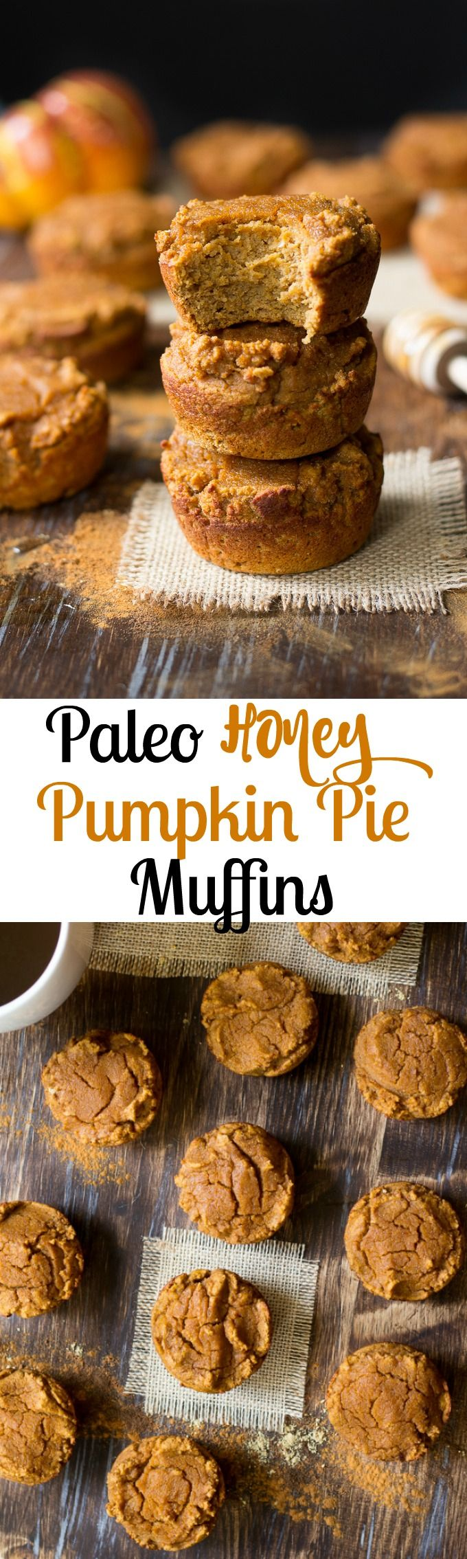 Paleo honey pumpkin pie muffins - easy to make, healthy, grain free pumpkin pie muffins sweetened with raw honey