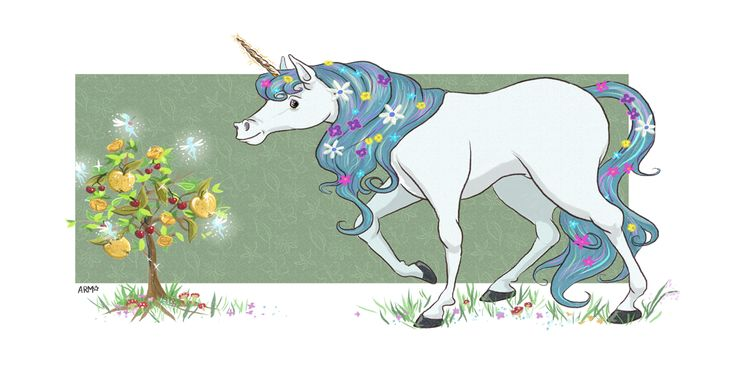 Shiny Apples, drawn in Photoshop by layout artist Amy Moffitt (MAY 2017) Fairy Tales Art from Cloth Cat Animation: unicorn, magical, sparkly, cute, flowers, blue hair, mythical creature