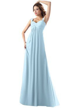 73fe49fc98f17 ColsBM Diana Ice Blue Modest Empire Thick Straps Zipper Floor Length Ruching  Prom Dresses