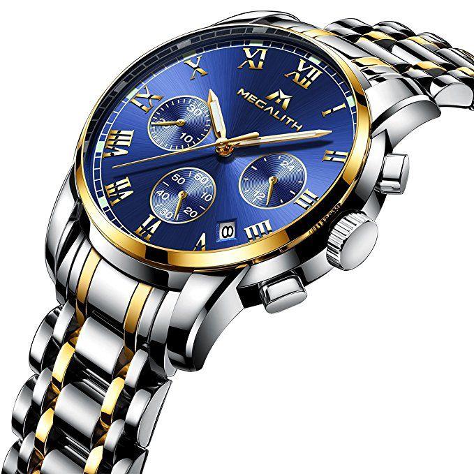 Herren Edelstahl Uhren Männer Chronograph Luxus Design Wasserdicht Datum Kalender Armbanduhr Geschäfts Beiläufig Mode Kleid Sport Analog Quarz Uhr mit Gold Gehäuse Römische Ziffern Blau Zifferblatt