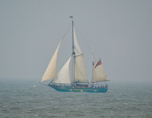 Sailing Boat off Sheerness Seafront (Sheerness - on - Sea, Isle of Sheppey, Kent, United Kingdom)