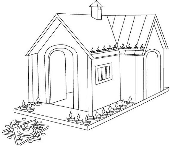 coloring pages of diwali scenes - photo#11