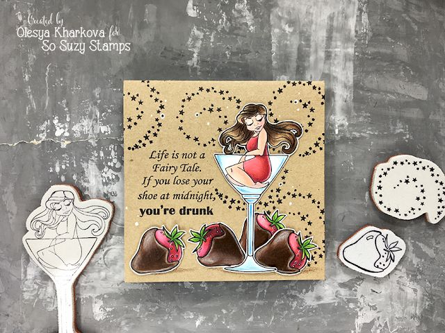 As if by magic by Olesya Kharkova: Cocktail girl | So Suzy stamps