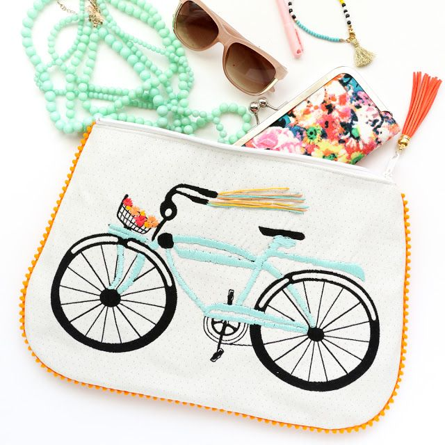 DIY | Embroidered Bike Pom Pom Clutch with Tassel Zipper