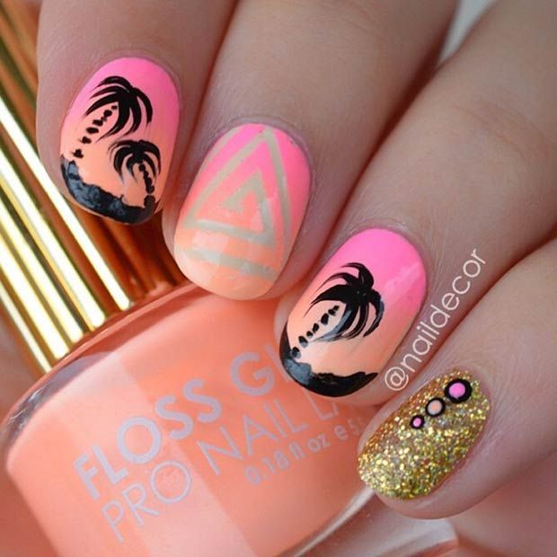 Neon Nails with Black Summer Palms