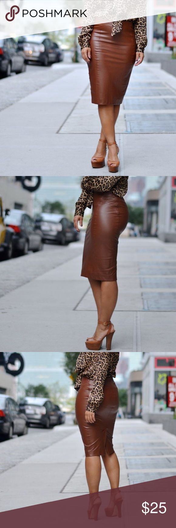 """Zara Brown Faux Leather Pencil Skirt Excellent conditions. 23"""" from waist. Fitted. Hidden side zip and back slit. Skirts Pencil"""