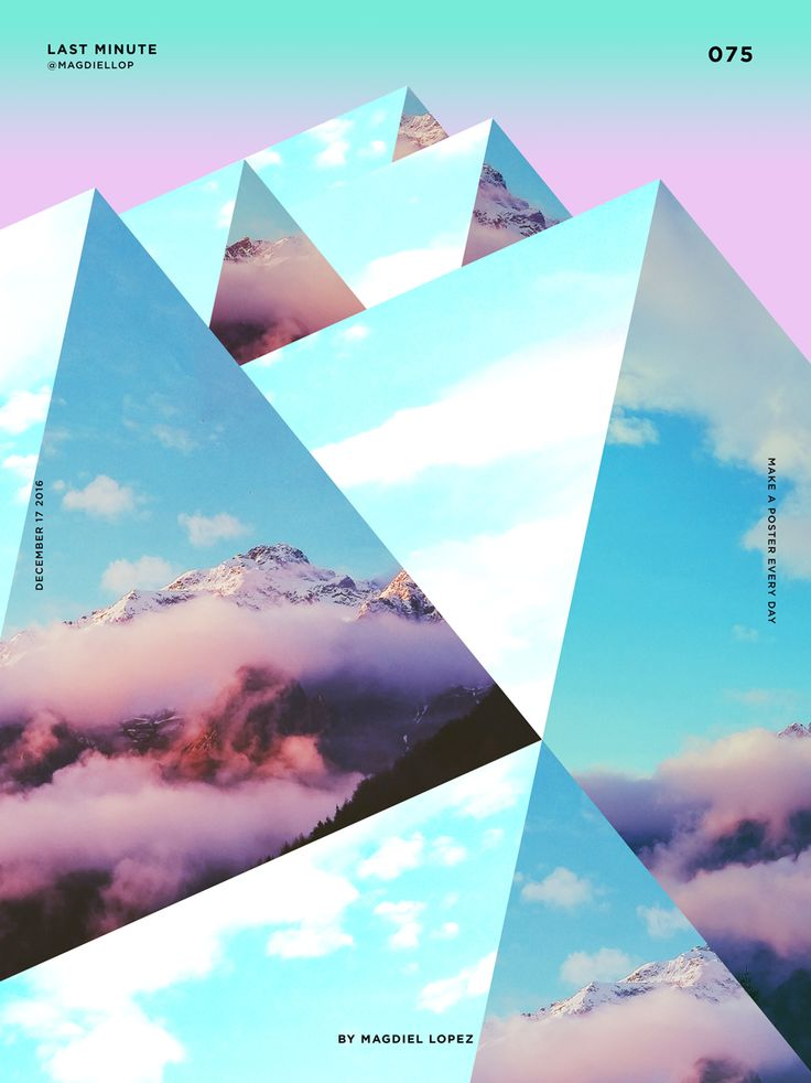 I like how the images of skies, mountains and clouds has been used to make the overall image of shapes that look like mountains.