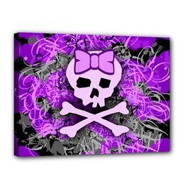"Purple Girly Skull Canvas 16"" X 12"" Roseanne Jones"