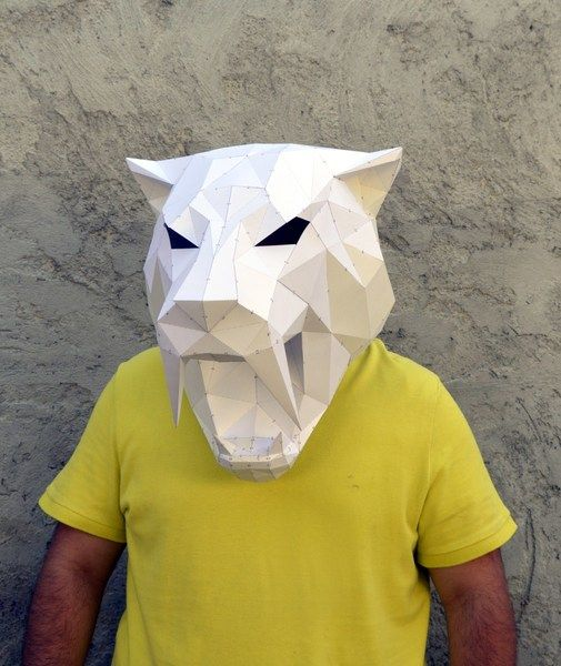 Make Your Own #Sabertooth #Mask. #Masque #Origami à monter soi même #DIY de PlainPapyrus sur DaWanda.com