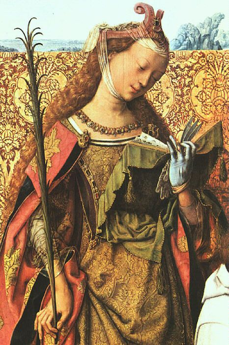 "St. Agnes from the MASTER of the St. Bartholomew Altar  (active 1470-1510 in Cologne). The name of the master is not known. Probably he arrived from Utrecht and was active in Cologne between 1485-1510. He got his name after his masterpiece, the St Bartholomew tryptych made for the church St Columba in Cologne.  She wears a sideless surcoat or ""gates of hell"" under her cloak."