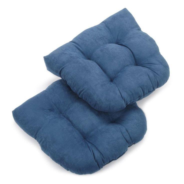 Blazing Needles Microsuede U-Shaped Indoor Chair Cushion - Set of 2 Indigo Blue - 93184-2CH-MS-IN