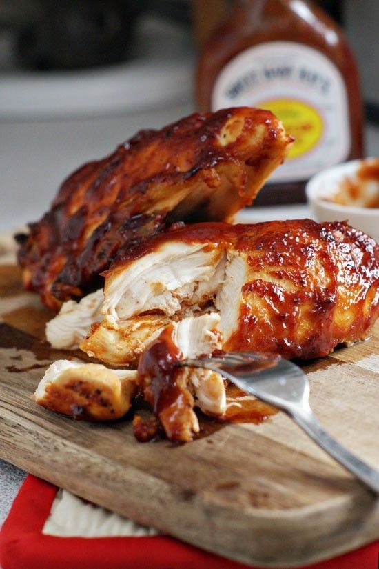 Super Moist Oven Baked BBQ Chicken: Today we're talking about baking chicken breasts to moist, juicy perfection and smothering them in BBQ Sauce.