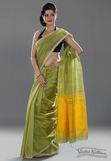 Olive Green Khadder Silk Saree with Yellow Pallu