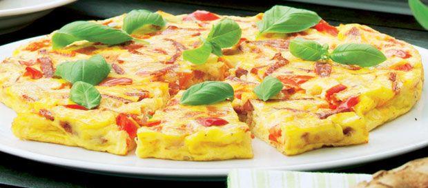 Æggekage a la pizza Servér som hovedret til 2 personer eller som forret eller tilbehør til 4-6 personer.