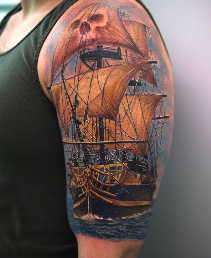 best 25 pirate ship tattoos ideas on pinterest pirate ship tattoo on back pirate tattoo ink. Black Bedroom Furniture Sets. Home Design Ideas