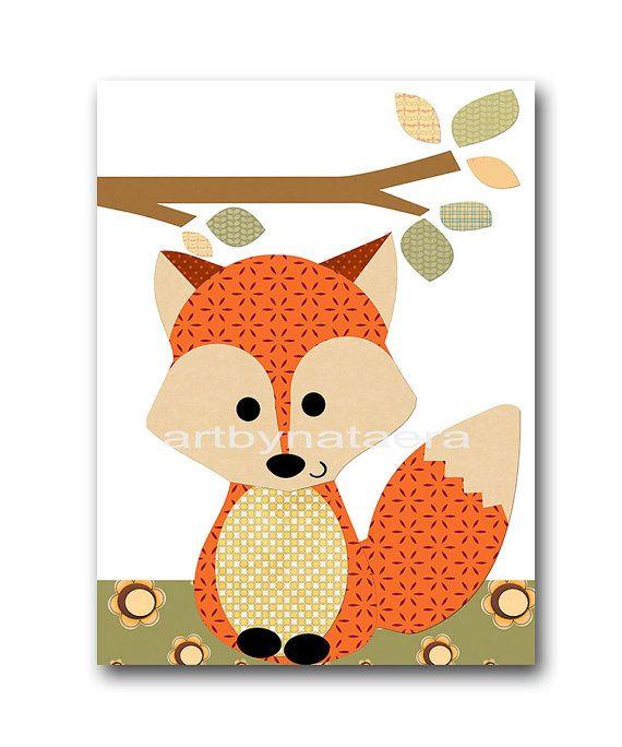 Set di Fox vivaio gufo vivaio Baby Boy vivaio arte di artbynataera