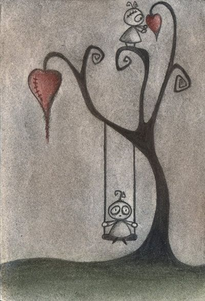 The Deserted Playground - emo, scene, goth, gothic, drawing, boy, and, &, girl, tree, heart, death, dead, kreepy
