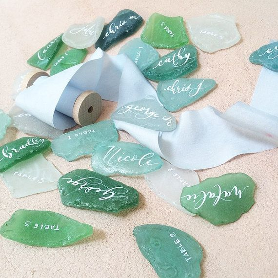 Sea Glass Place Cards  Sea Glass Escort Cards by inLoftCalligraphy