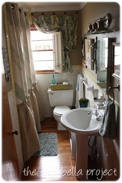 Bathroom Remodel For Normal Size Bathrooms Love The Curtain And Pedestal Sink With Small Cabinet Idea