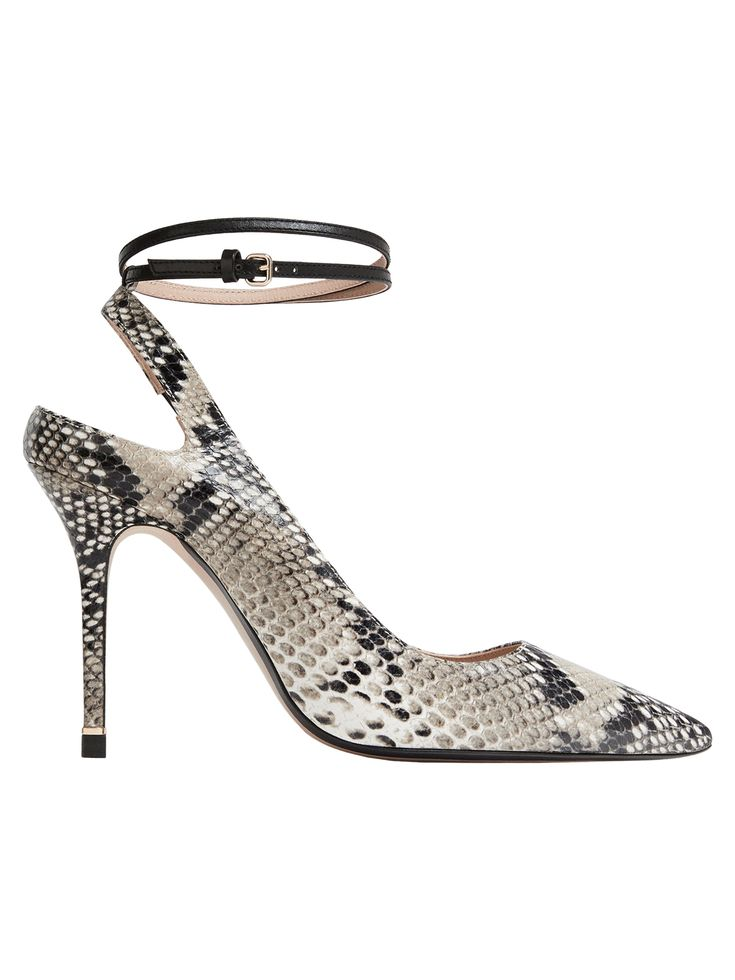 Animal print slingback high heel court shoes made from leather with a mock croc finish. Featuring ankle straps and leather lining and insoles.