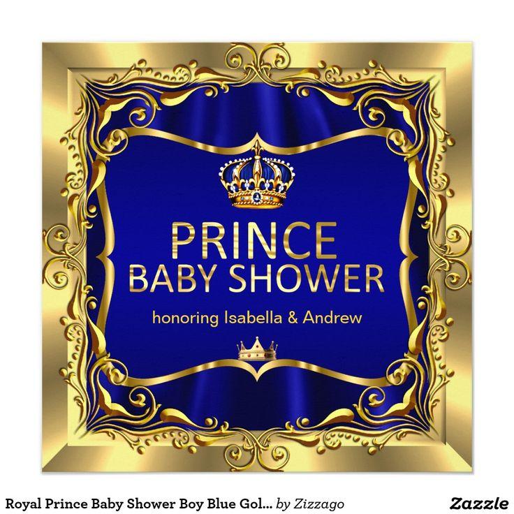 Royal Prince Baby Shower Boy Blue Gold Invitation