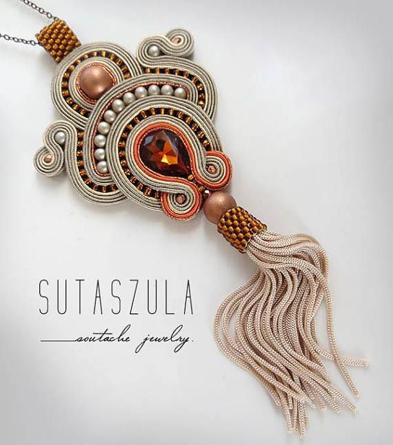 Beige topaz tassel boho necklace soutache OOAK statement