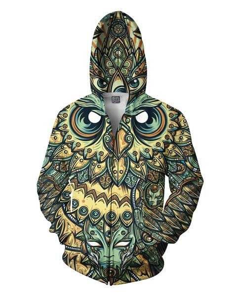 All-over print God Owl of Dreams Zip-Up Hoodie design,