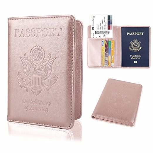 Leather Passport Holder Travel Wallet RFID, rose gold pink (search color). Unique travel gifts. Practical, useful gifts for travelers on checklist of essential travel packing list. Best travel gift ideas with travel accessories, DIY gift baskets. Small cool cheap gifts for friends, men, women, world travelers. International travel, study abroad, college students, backpacking. Under 20 dollars. #gifts #traveltips #travelquotes
