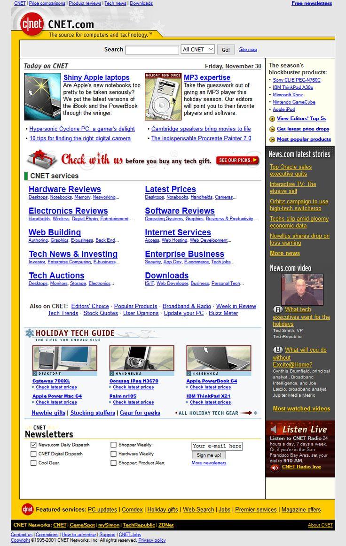 CNET website in 2001
