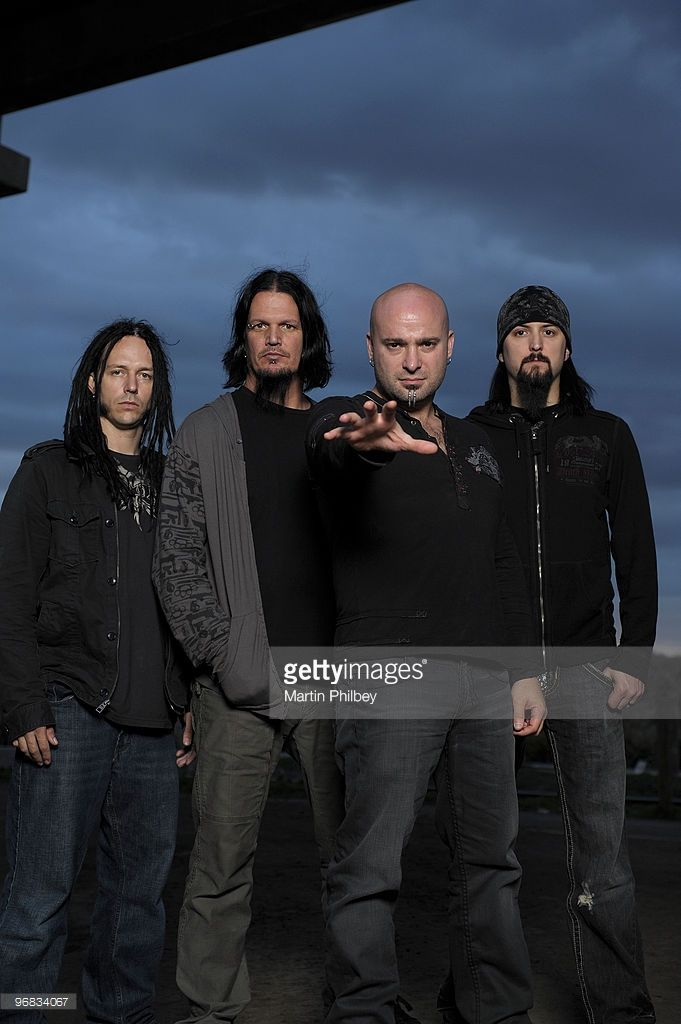 John Moyer, Dan Donegan, David Draiman and Mike Wengren of Disturbed pose for a group portrait on 6th September 2008 in Melbourne, Australia.