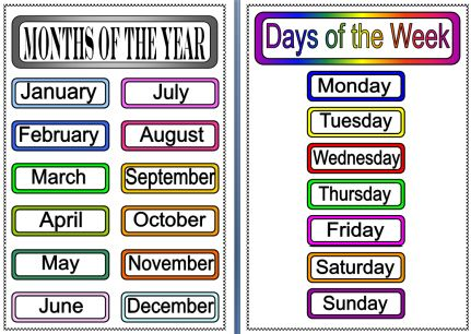 34 best Days, Months and Seasons images on Pinterest Elementary - days of the week calendar template