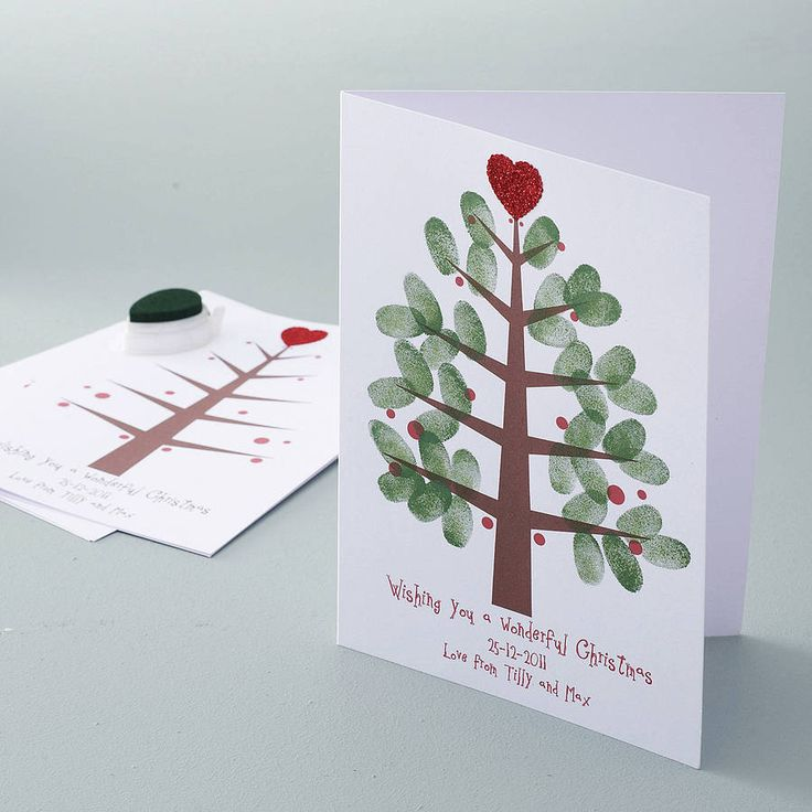 personalised thumbprint christmas tree cards by love those prints | notonthehighstreet.com