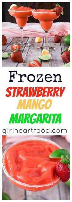 ~ Frozen Strawberry Mango Margarita ~ With minimal ingredients, this Frozen Strawberry Mango Margarita delivers a sucker punch right to your taste buds! Boo-ya!  Sweet strawberries are combined with chunks of mango and lime (and some tequila & triple sec, of course) for a fruity, slushy cocktail perfect for Cinco de Mayo (or any of …
