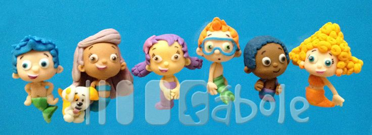 The whole Bubble Guppies bunch! Made by hand in fondant, 100% edible, if you have the heart to eat them!!