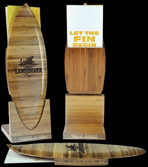 Landshark Menu Holders -  Solid Bamboo Menu Holders with Laser Engraved Logo and Pocket on Back to Hold Folded Paper Menus