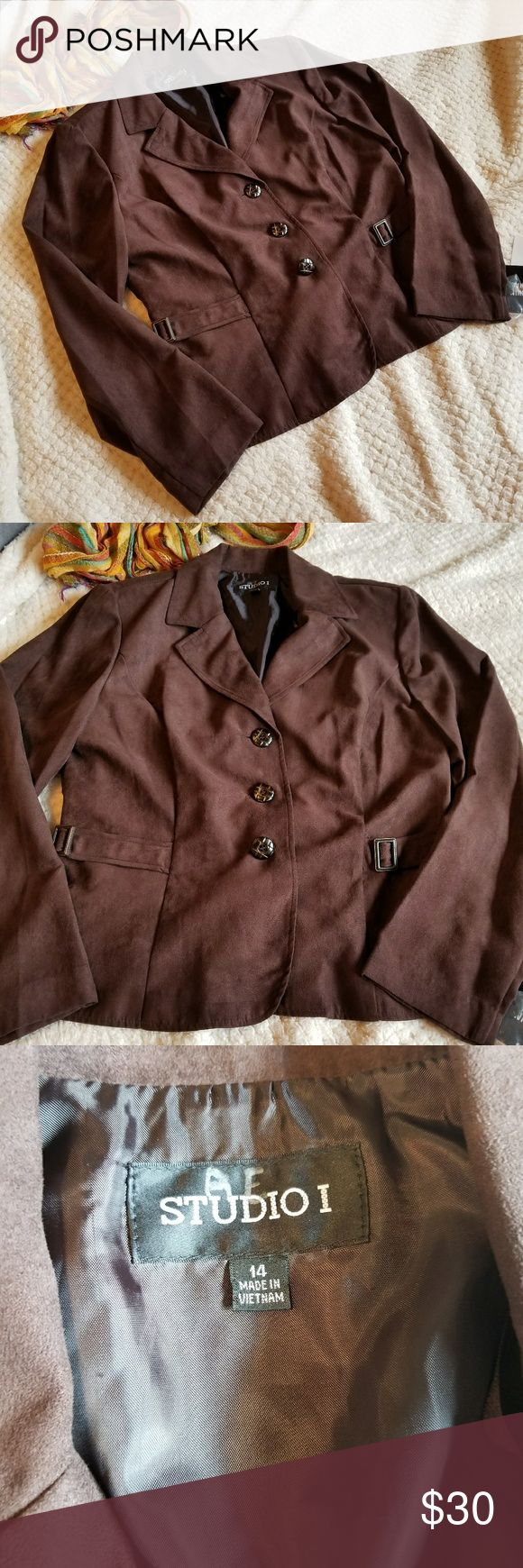 Studio I Brown blazer Size 14. Dark brown. Suede like material. Was part of a two piece set, only jacket for sale. NWT. Built in shoulder pads. Thinner blazer, perfect for fall. Studio I Jackets & Coats Blazers