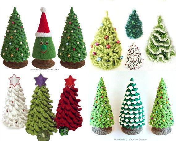 Set 4 Patterns. Christmas tree - 3 Crochet and 1 Knitting Patterns - 4 Pdf files by Zabelina, Pertseva, Sharapova Etsy