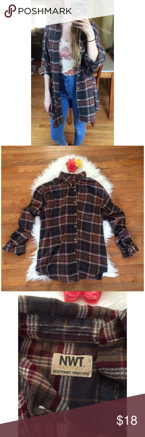 90's Vintage Soft Oversized Flannel 🍂 Awesome vintage 90's flannel by Northwest Territories! Super super soft 100% acrylic material in the best deep neutral plaid shades. This is a staple for anyone's closet, perfect to throw on over anything for an extra cozy touch! In awesome vintage condition. Men's size XL, fits a variety of ladies sizes! Seen on a size xs, 5'2 height :)  Measurements (buttoned)- Total Length (top of shoulder to bottom hem)- 31 inches  Bust- 21 inches flat across…