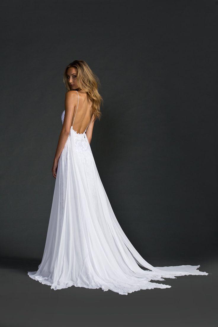 Low back lace beach wedding dress featuring thin por Graceloveslace
