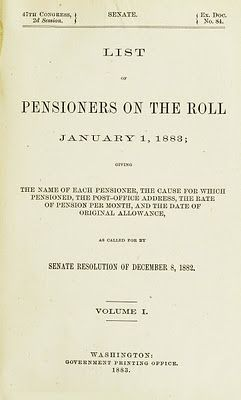 Civil War List of Pensioners on the Roll January 1, 1883. Read how historical U.S. military records can help you find your ancestors at the GenealogyBank blog: http://blog.genealogybank.com/1883-us-government-military-pension.html