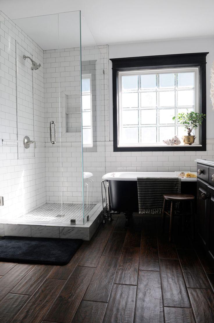 Dark wood floor bathroom - Wood Floor Tiles For Main Bathroom Wood Tile Floor White Subway Tile With Dark Grout Black Window Trim Basement Bath