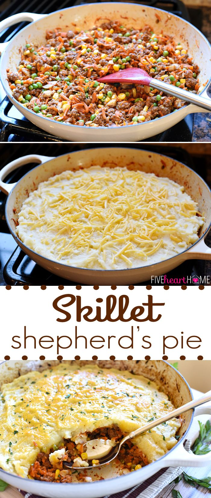 Skillet Shepherd's Pie - A one-pot dinner loaded with savory beef and ...